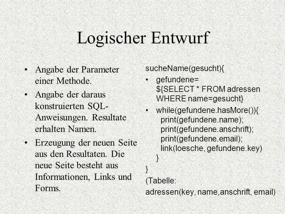 Logischer Entwurf Angabe der Parameter einer Methode. Angabe der daraus konstruierten SQL- Anweisungen. Resultate erhalten Namen. Erzeugung der neuen