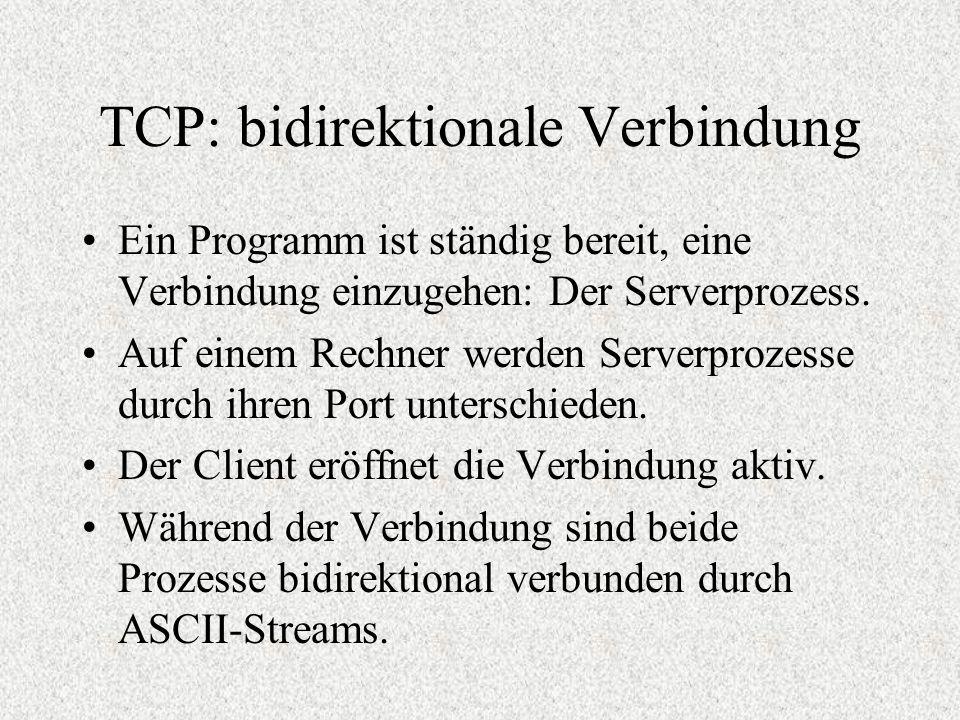 TCP: bidirektionale Verbindung Ein Programm ist ständig bereit, eine Verbindung einzugehen: Der Serverprozess. Auf einem Rechner werden Serverprozesse