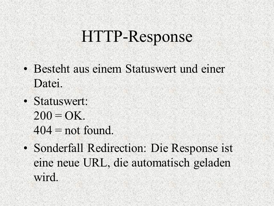 HTTP-Response Besteht aus einem Statuswert und einer Datei. Statuswert: 200 = OK. 404 = not found. Sonderfall Redirection: Die Response ist eine neue