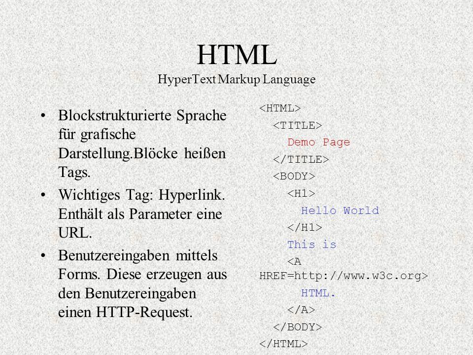 HTML HyperText Markup Language Blockstrukturierte Sprache für grafische Darstellung.Blöcke heißen Tags. Wichtiges Tag: Hyperlink. Enthält als Paramete
