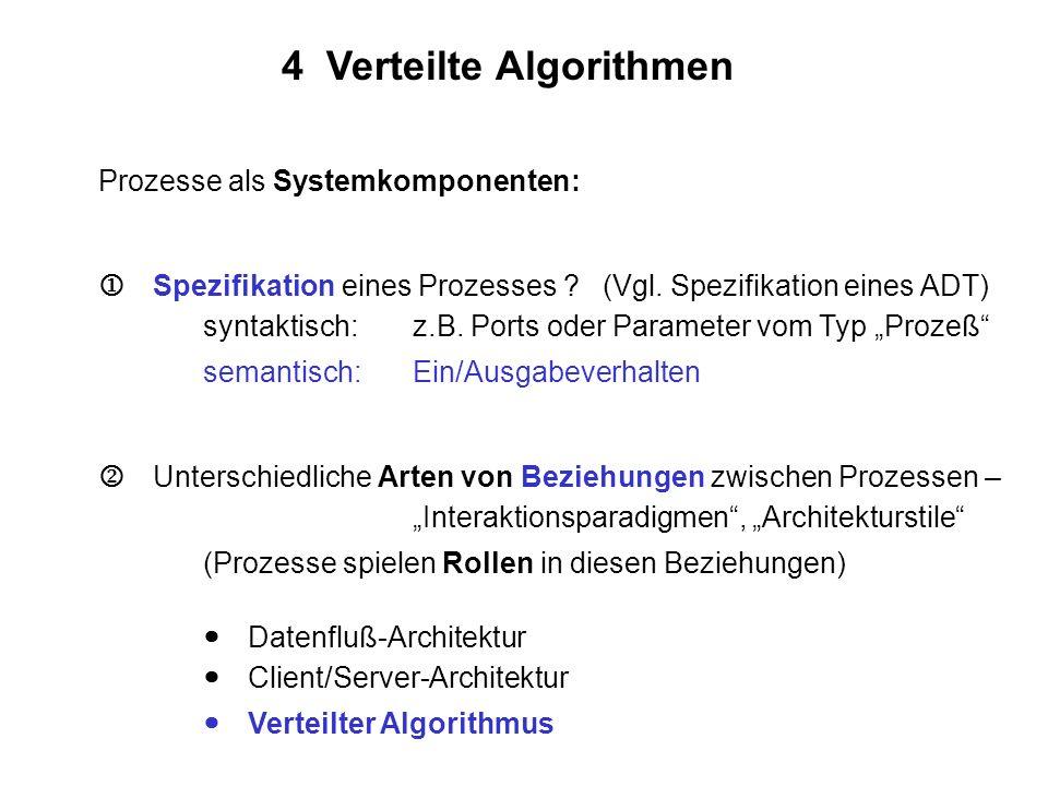4 Verteilte Algorithmen Prozesse als Systemkomponenten: Spezifikation eines Prozesses ? (Vgl. Spezifikation eines ADT) syntaktisch:z.B. Ports oder Par