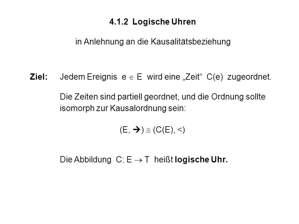 4.1.2 Logische Uhren in Anlehnung an die Kausalitätsbeziehung Ziel:Jedem Ereignis e E wird eine Zeit C(e) zugeordnet. Die Zeiten sind partiell geordne