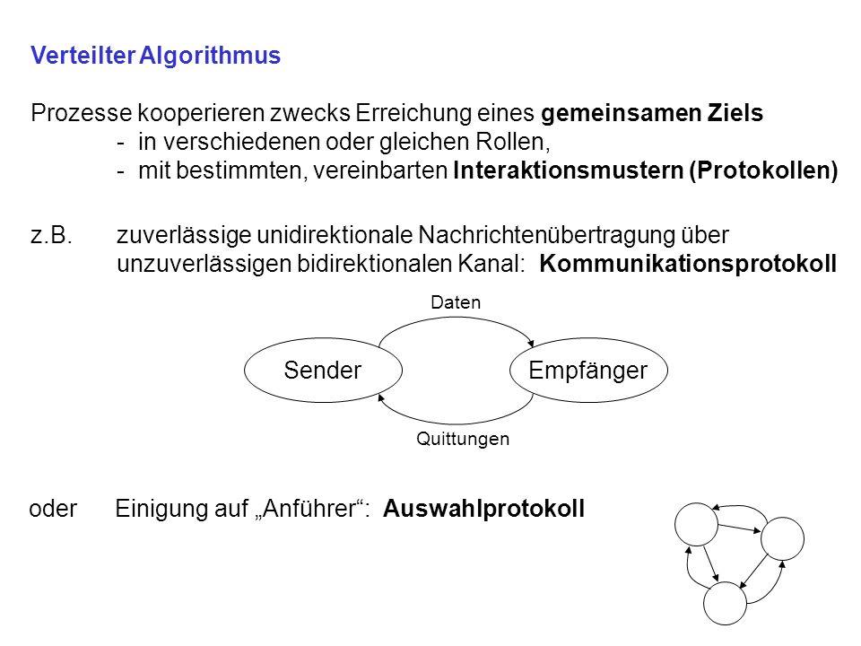 Def.:Verteilter Algorithmus Prozesse kooperieren zwecks Erreichung eines gemeinsamen Ziels Häufig Fehlertoleranz bei unzuverlässigen Prozessen oder unzuverlässiger Interprozeßkommunikation Formulierung in Pseudocode, mit prozeßbezogener Adressierung