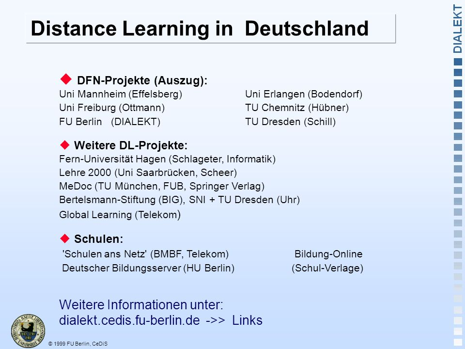 © 1999 FU Berlin, CeDiS Distance Learning in Deutschland DFN-Projekte (Auszug): Uni Mannheim (Effelsberg) Uni Erlangen (Bodendorf) Uni Freiburg (Ottmann)TU Chemnitz (Hübner) FU Berlin (DIALEKT)TU Dresden (Schill) Weitere DL-Projekte: Fern-Universität Hagen (Schlageter, Informatik) Lehre 2000 (Uni Saarbrücken, Scheer) MeDoc (TU München, FUB, Springer Verlag) Bertelsmann-Stiftung (BIG), SNI + TU Dresden (Uhr) Global Learning (Telekom ) Schulen: Schulen ans Netz (BMBF, Telekom) Bildung-Online Deutscher Bildungsserver (HU Berlin) (Schul-Verlage) Weitere Informationen unter: dialekt.cedis.fu-berlin.de ->> Links