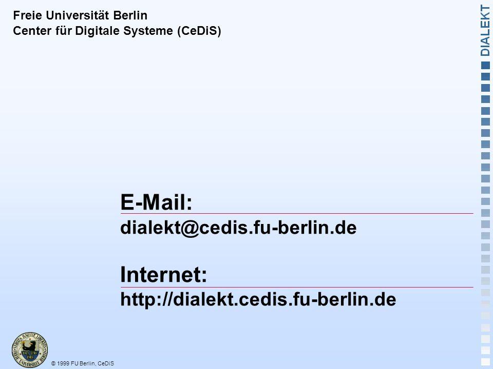 © 1999 FU Berlin, CeDiS Die virtuelle Lernumgebung von morgen !