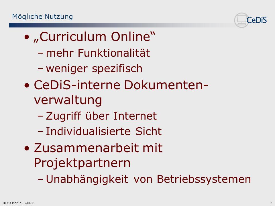 7© FU Berlin - CeDiS Nutzungsbedingungen Lizenzkostenfrei für Universitäten –Nutzung des öffentlichen Servers (http://bscw.gmd.de) –Installation eines eigenen Servers Kostenpflichtiges Hosting bei Orbiteam