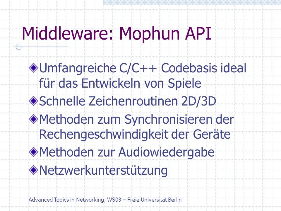 Advanced Topics in Networking, WS03 – Freie Universität Berlin Middleware: Mophun API Umfangreiche C/C++ Codebasis ideal für das Entwickeln von Spiele Schnelle Zeichenroutinen 2D/3D Methoden zum Synchronisieren der Rechengeschwindigkeit der Geräte Methoden zur Audiowiedergabe Netzwerkunterstützung