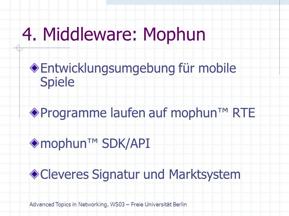 Advanced Topics in Networking, WS03 – Freie Universität Berlin Middleware: Mophun RTE Extrem leichtgewichtige virtuelle Konsole Konzept ähnlich JAVA VM Unterstützt Plattform übergreifende Implementierungen Programmiert durch die Mophun API