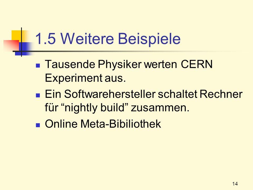 14 1.5 Weitere Beispiele Tausende Physiker werten CERN Experiment aus. Ein Softwarehersteller schaltet Rechner für nightly build zusammen. Online Meta