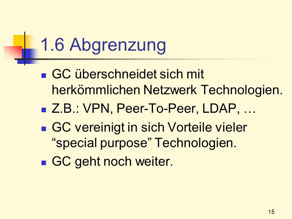 15 1.6 Abgrenzung GC überschneidet sich mit herkömmlichen Netzwerk Technologien. Z.B.: VPN, Peer-To-Peer, LDAP, … GC vereinigt in sich Vorteile vieler