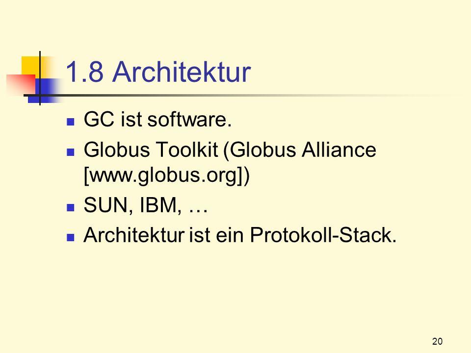 20 1.8 Architektur GC ist software. Globus Toolkit (Globus Alliance [www.globus.org]) SUN, IBM, … Architektur ist ein Protokoll-Stack.