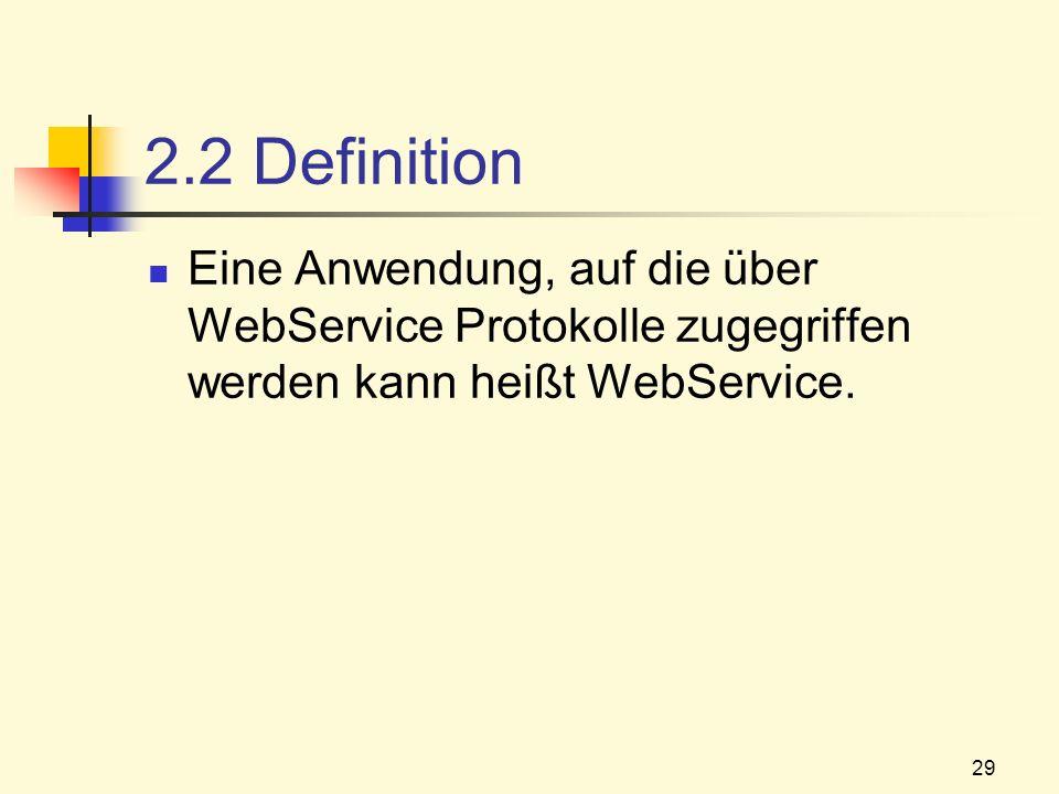 29 2.2 Definition Eine Anwendung, auf die über WebService Protokolle zugegriffen werden kann heißt WebService.