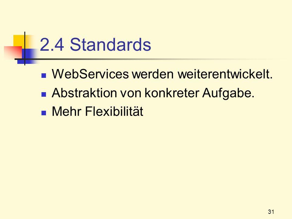 31 2.4 Standards WebServices werden weiterentwickelt. Abstraktion von konkreter Aufgabe. Mehr Flexibilität