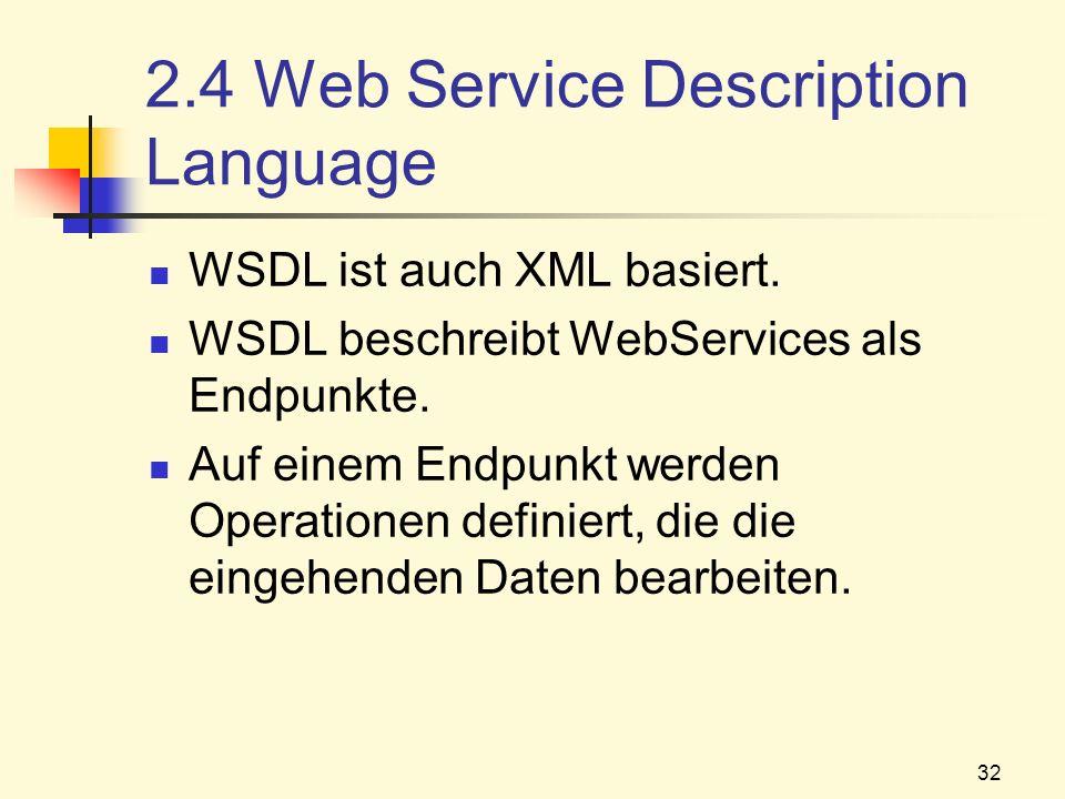 32 2.4 Web Service Description Language WSDL ist auch XML basiert. WSDL beschreibt WebServices als Endpunkte. Auf einem Endpunkt werden Operationen de
