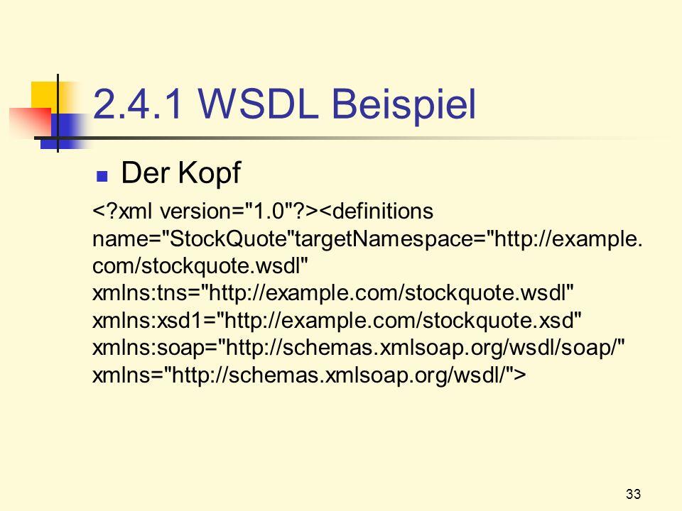 33 2.4.1 WSDL Beispiel Der Kopf
