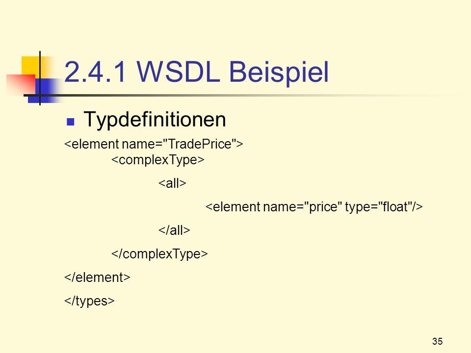 35 2.4.1 WSDL Beispiel Typdefinitionen