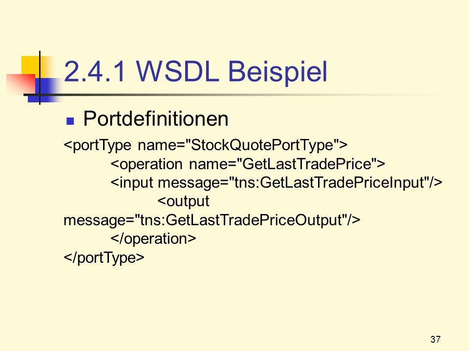 37 2.4.1 WSDL Beispiel Portdefinitionen