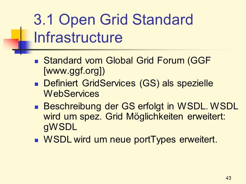 43 3.1 Open Grid Standard Infrastructure Standard vom Global Grid Forum (GGF [www.ggf.org]) Definiert GridServices (GS) als spezielle WebServices Besc