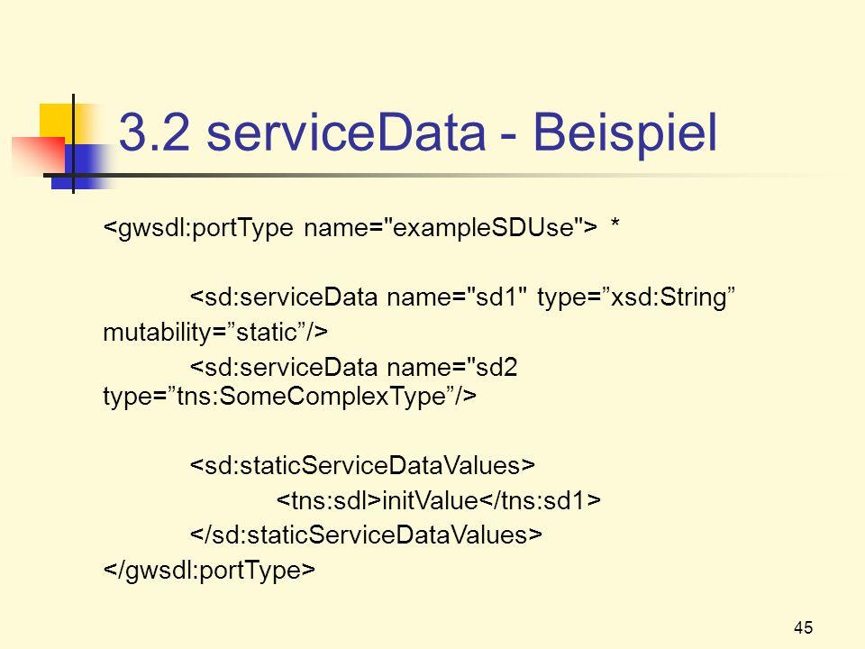 45 3.2 serviceData - Beispiel * <sd:serviceData name=