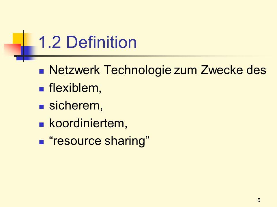 5 1.2 Definition Netzwerk Technologie zum Zwecke des flexiblem, sicherem, koordiniertem, resource sharing