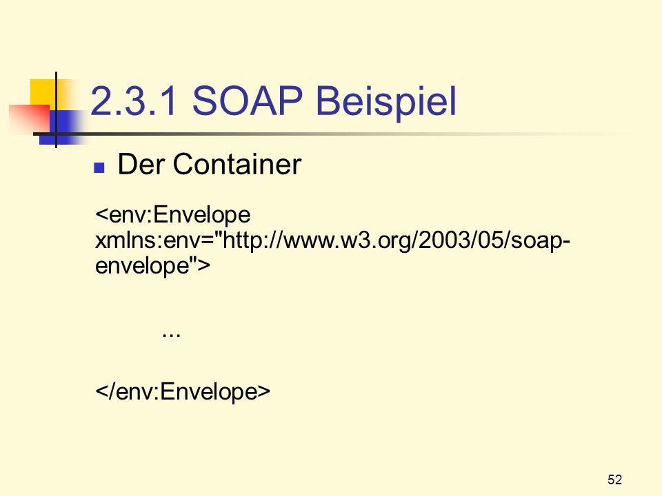 52 2.3.1 SOAP Beispiel Der Container...