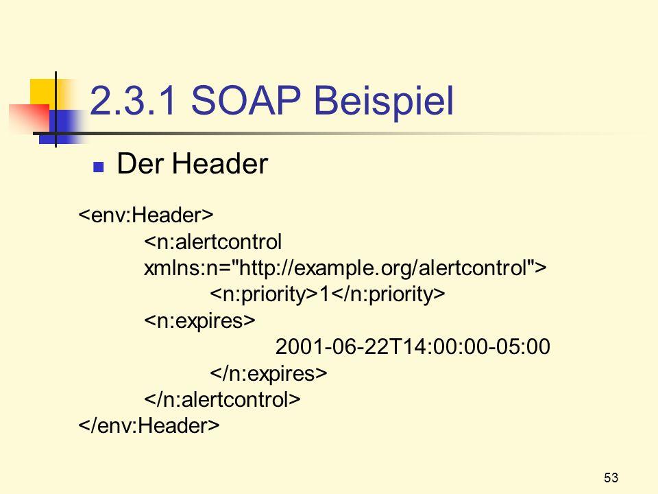 53 2.3.1 SOAP Beispiel Der Header 1 2001-06-22T14:00:00-05:00
