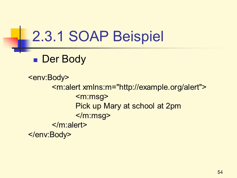 54 2.3.1 SOAP Beispiel Der Body Pick up Mary at school at 2pm
