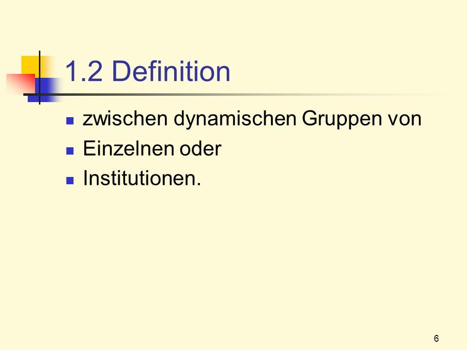 6 1.2 Definition zwischen dynamischen Gruppen von Einzelnen oder Institutionen.