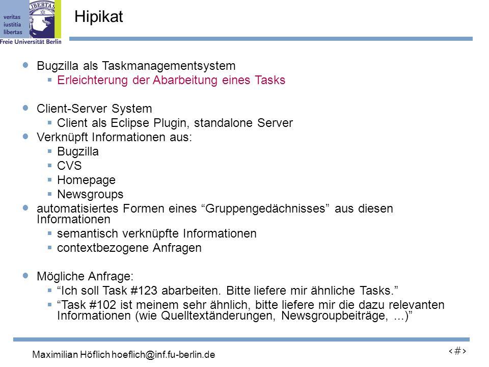 Lutz Prechelt, prechelt@inf.fu-berlin.de 13 Bugzilla als Taskmanagementsystem Erleichterung der Abarbeitung eines Tasks Client-Server System Client als Eclipse Plugin, standalone Server Verknüpft Informationen aus: Bugzilla CVS Homepage Newsgroups automatisiertes Formen eines Gruppengedächnisses aus diesen Informationen semantisch verknüpfte Informationen contextbezogene Anfragen Mögliche Anfrage: Ich soll Task #123 abarbeiten.
