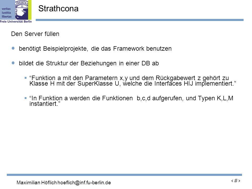 Lutz Prechelt, prechelt@inf.fu-berlin.de 19 Den Server füllen benötigt Beispielprojekte, die das Framework benutzen bildet die Struktur der Beziehungen in einer DB ab Funktion a mit den Parametern x,y und dem Rückgabewert z gehört zu Klasse H mit der SuperKlasse U, welche die Interfaces HIJ implementiert.