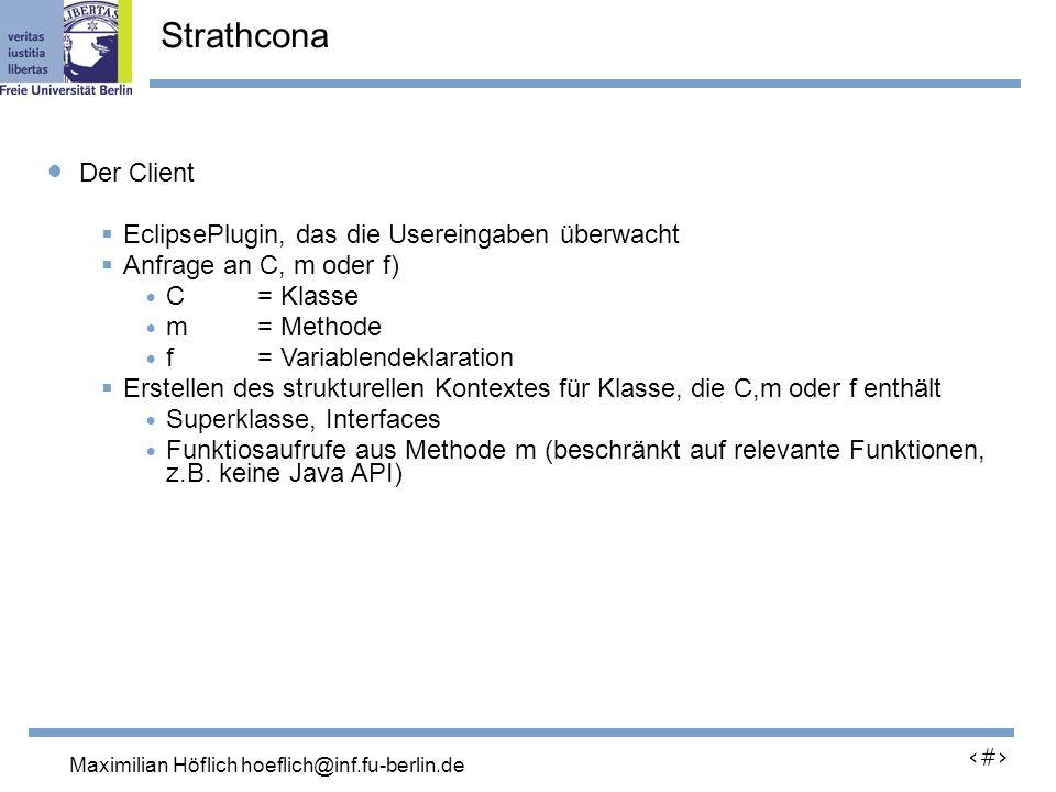 Lutz Prechelt, prechelt@inf.fu-berlin.de 20 Der Client EclipsePlugin, das die Usereingaben überwacht Anfrage an C, m oder f) C = Klasse m = Methode f = Variablendeklaration Erstellen des strukturellen Kontextes für Klasse, die C,m oder f enthält Superklasse, Interfaces Funktiosaufrufe aus Methode m (beschränkt auf relevante Funktionen, z.B.