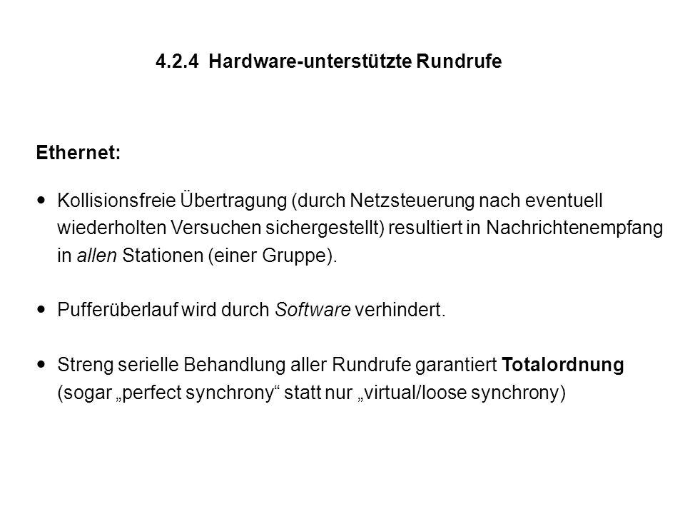 4.2.4 Hardware-unterstützte Rundrufe Ethernet: Kollisionsfreie Übertragung (durch Netzsteuerung nach eventuell wiederholten Versuchen sichergestellt)