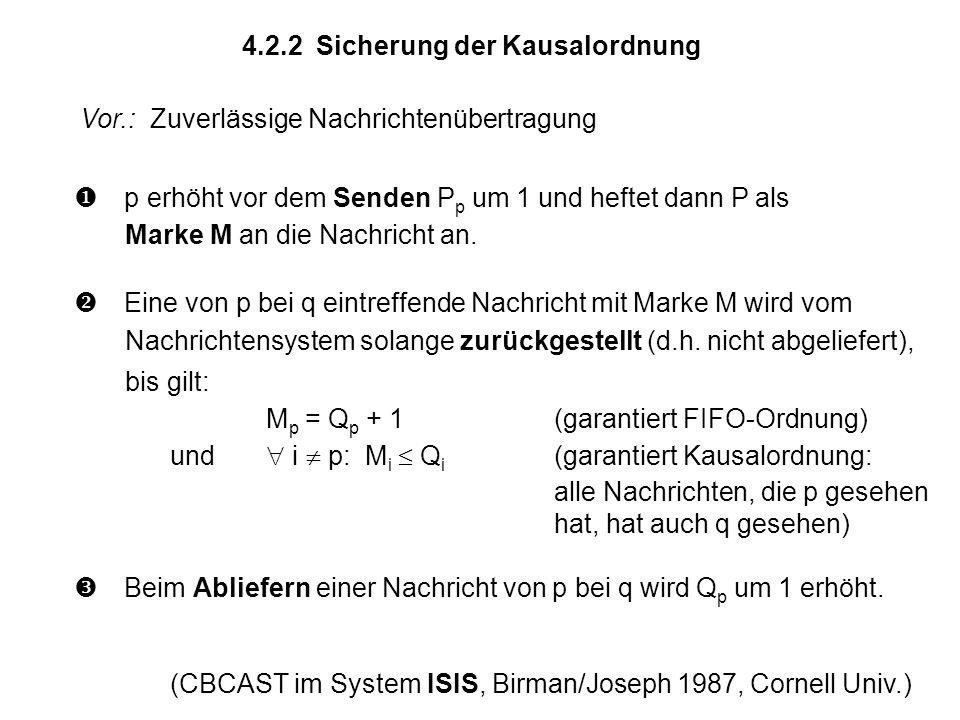 4.2.2 Sicherung der Kausalordnung p erhöht vor dem Senden P p um 1 und heftet dann P als Marke M an die Nachricht an. Eine von p bei q eintreffende Na