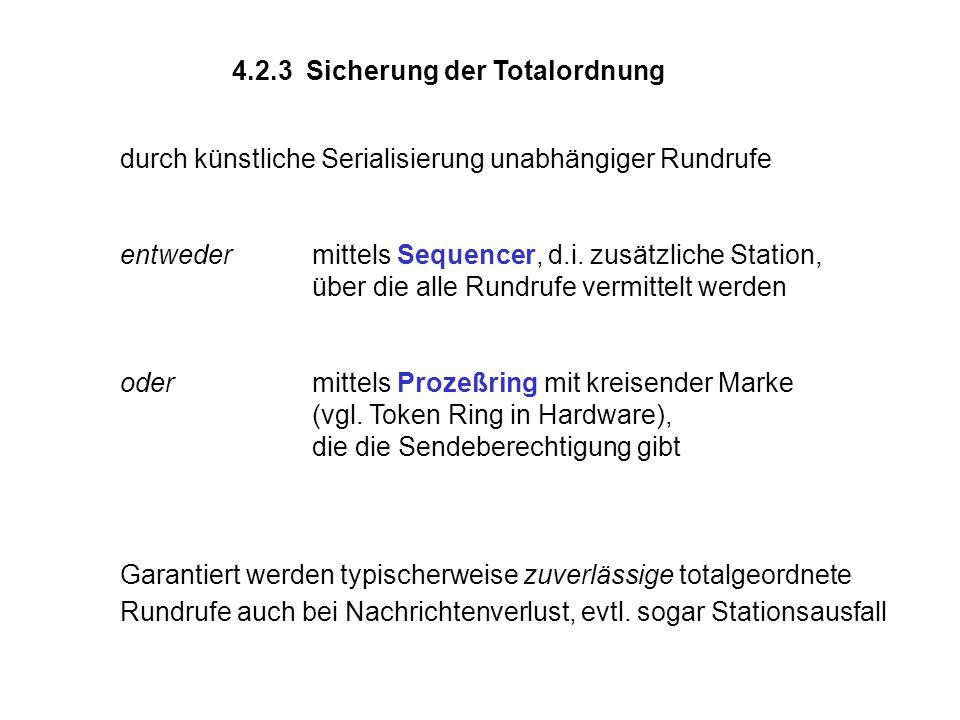 4.2.3 Sicherung der Totalordnung durch künstliche Serialisierung unabhängiger Rundrufe entweder mittels Sequencer, d.i. zusätzliche Station, über die