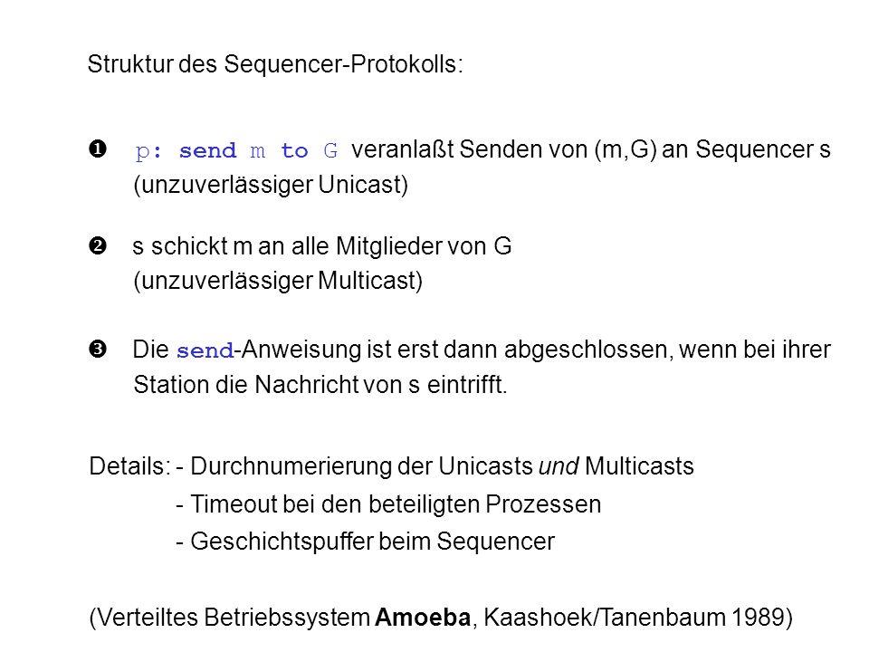 Struktur des Sequencer-Protokolls: p: send m to G veranlaßt Senden von (m,G) an Sequencer s (unzuverlässiger Unicast) s schickt m an alle Mitglieder v