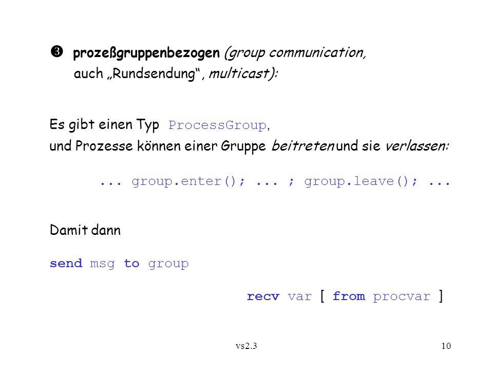 vs2.310 prozeßgruppenbezogen (group communication, auch Rundsendung, multicast): Es gibt einen Typ ProcessGroup, und Prozesse können einer Gruppe beitreten und sie verlassen:...