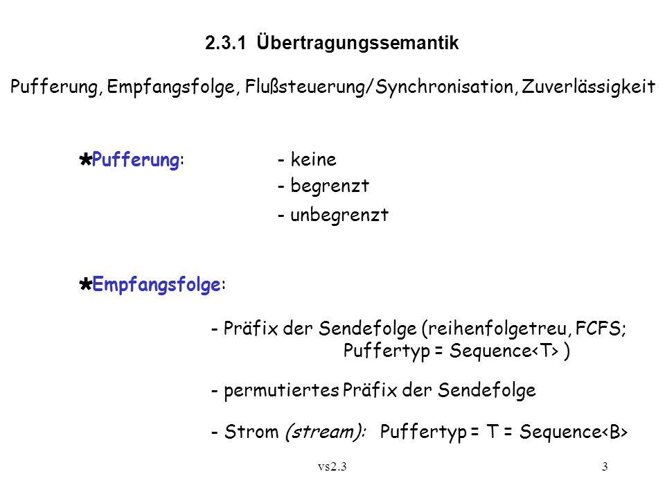 vs2.33 2.3.1 Übertragungssemantik Pufferung, Empfangsfolge, Flußsteuerung/Synchronisation, Zuverlässigkeit Pufferung:- keine - begrenzt - unbegrenzt Empfangsfolge: - Präfix der Sendefolge (reihenfolgetreu, FCFS; Puffertyp = Sequence ) - permutiertes Präfix der Sendefolge - Strom (stream): Puffertyp = T = Sequence