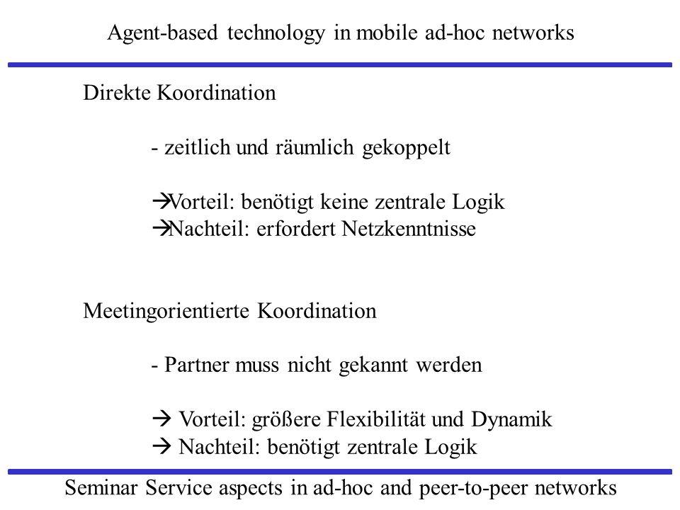 Agent-based technology in mobile ad-hoc networks Seminar Service aspects in ad-hoc and peer-to-peer networks Direkte Koordination - zeitlich und räuml