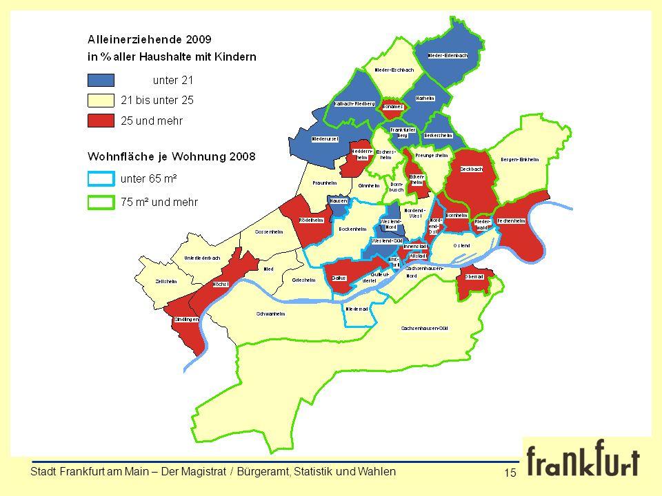 Stadt Frankfurt am Main – Der Magistrat / Bürgeramt, Statistik und Wahlen Anke Wörner 15 Stadt Frankfurt am Main – Der Magistrat / Bürgeramt, Statisti
