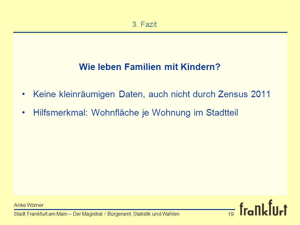 Stadt Frankfurt am Main – Der Magistrat / Bürgeramt, Statistik und Wahlen Anke Wörner 19 3. Fazit Keine kleinräumigen Daten, auch nicht durch Zensus 2