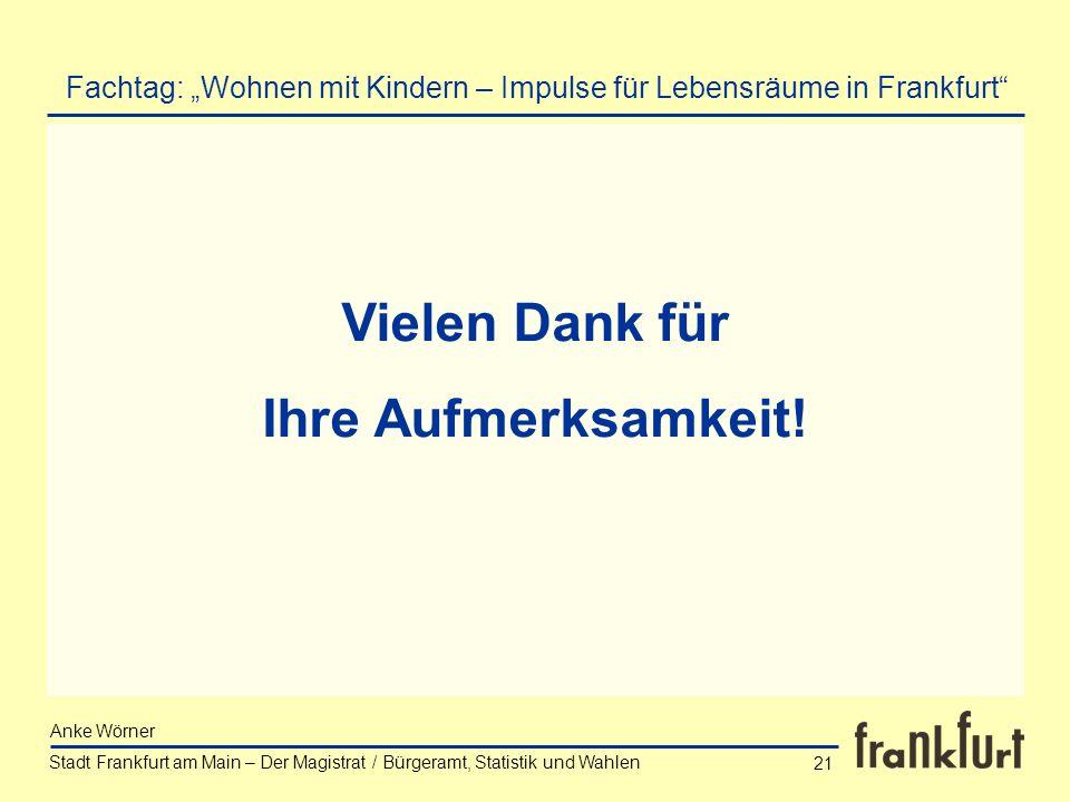 Stadt Frankfurt am Main – Der Magistrat / Bürgeramt, Statistik und Wahlen Anke Wörner 21 Vielen Dank für Ihre Aufmerksamkeit! Fachtag: Wohnen mit Kind