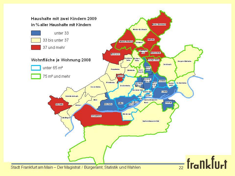 Stadt Frankfurt am Main – Der Magistrat / Bürgeramt, Statistik und Wahlen Anke Wörner 22 Stadt Frankfurt am Main – Der Magistrat / Bürgeramt, Statisti