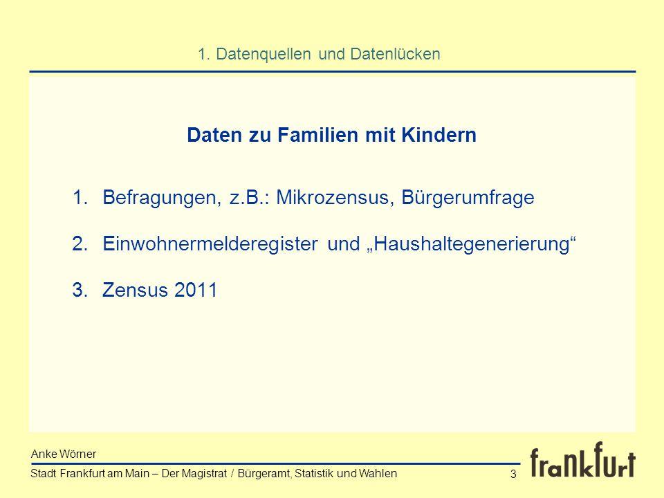 Stadt Frankfurt am Main – Der Magistrat / Bürgeramt, Statistik und Wahlen Anke Wörner 3 1.Befragungen, z.B.: Mikrozensus, Bürgerumfrage 2.Einwohnermel