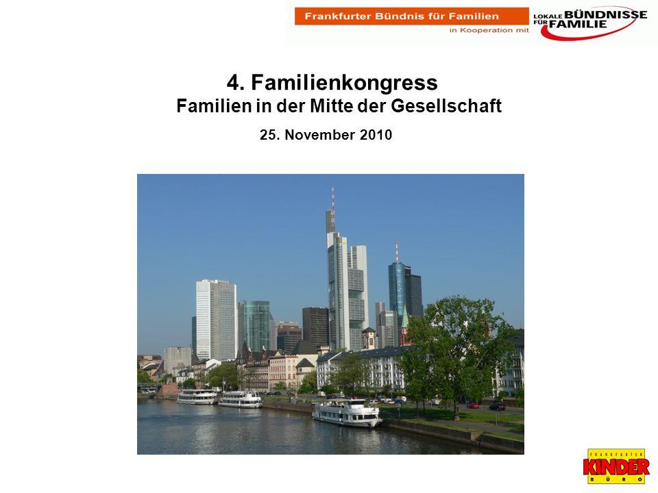 Auszug aus der Gründungsdeklaration 2005 Frankfurter Bündnis für Familien Das Frankfurter Bündnis für Familien, zu dem wir aufrufen und einladen, will Zeichen setzen für eine nachhaltige Familienpolitik.
