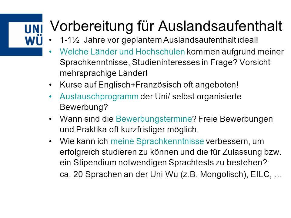 Auswahl der Gastinstitution Büro des Akademischen Auslandsamts am Petersplatz (Stephanstraße 1) –Broschüren –Länderstudienführer –Info-Boxen zu einzelnen Austausch-Universitäten –Erfahrungsberichte ehemaliger Stipendiaten (auch www)