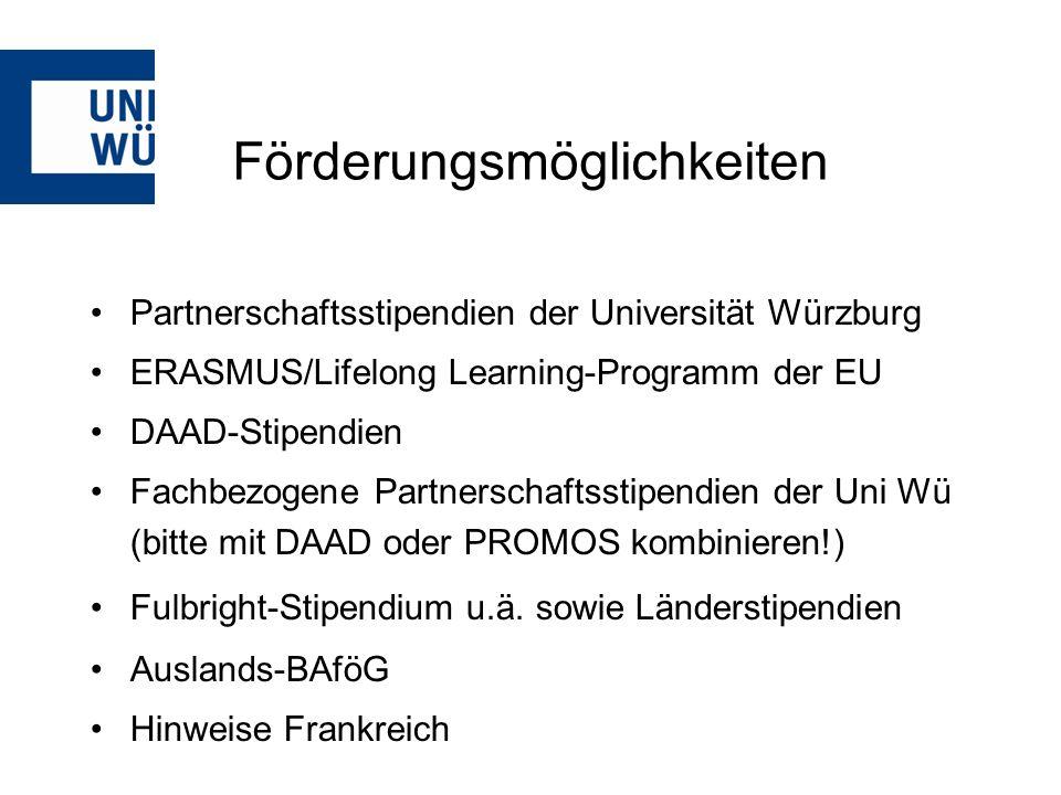 http://www.international.uni-wuerzburg.de/studium_im_ausland/ oder persönliche Beratung: Akademisches Auslandsamt der Universität Würzburg Besucheradresse: Öffnungszeiten: Stephanstraße 1Mo–Fr 8–12 Uhr (Do bis 11.30!) Tel.: 31-82805/ -82298/ -82803 Mi zusätzlich 14–16 Uhr international@uni-wuerzburg.de Hubland Büro:Öffnungszeiten: Hinter der MensaMo + Di 10-12.30 Uhr Mi 13-15 Uhr international@uni-wuerzburg.de Weitere Informationen