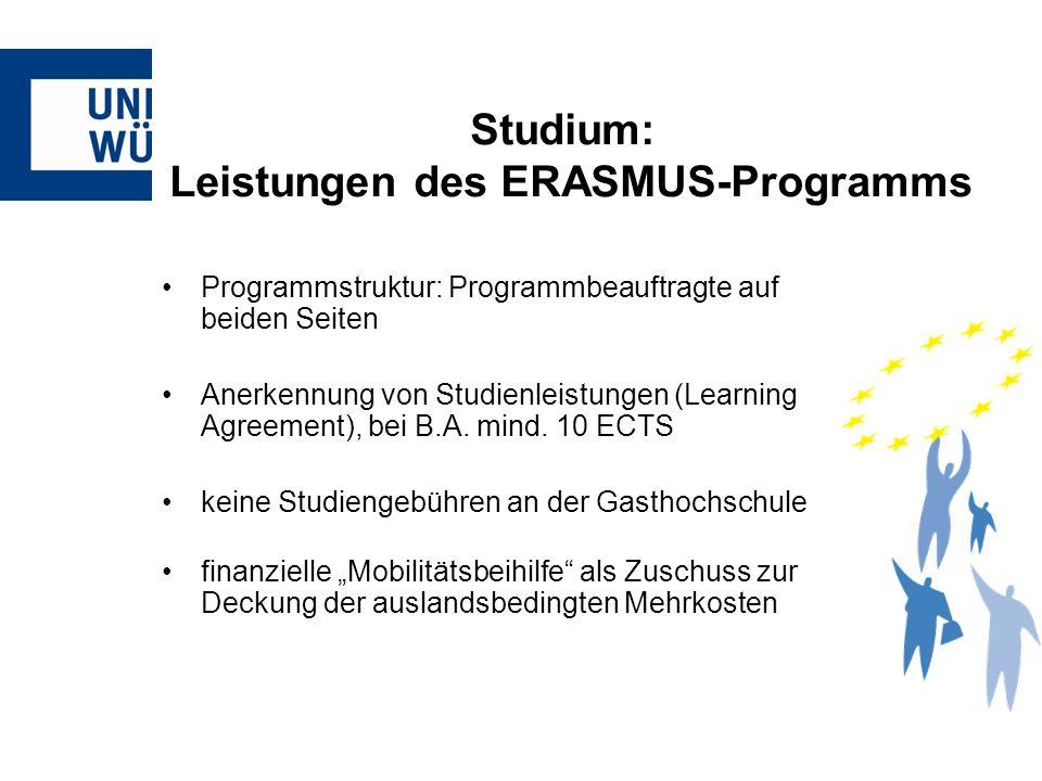 Programmstruktur: Programmbeauftragte auf beiden Seiten Anerkennung von Studienleistungen (Learning Agreement), bei B.A. mind. 10 ECTS keine Studienge