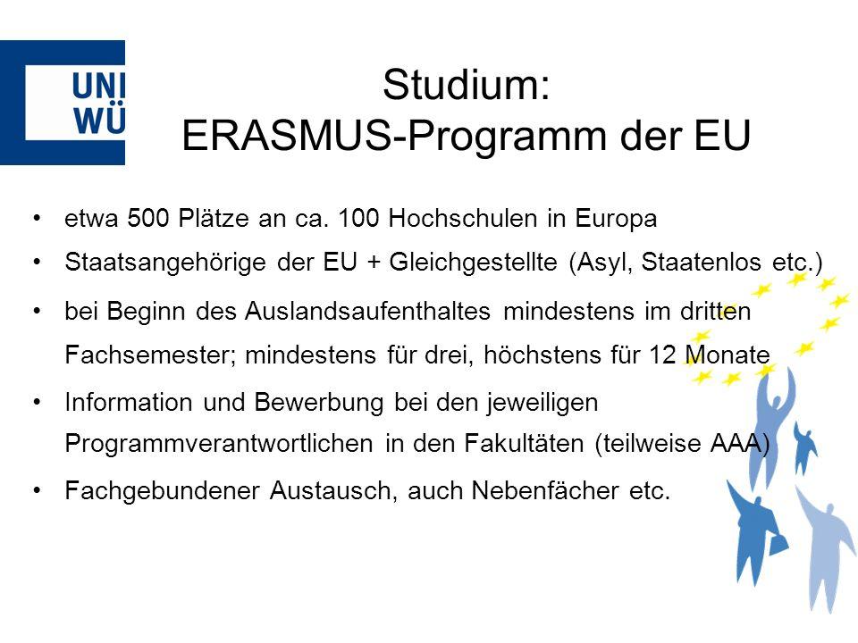 etwa 500 Plätze an ca. 100 Hochschulen in Europa Staatsangehörige der EU + Gleichgestellte (Asyl, Staatenlos etc.) bei Beginn des Auslandsaufenthaltes