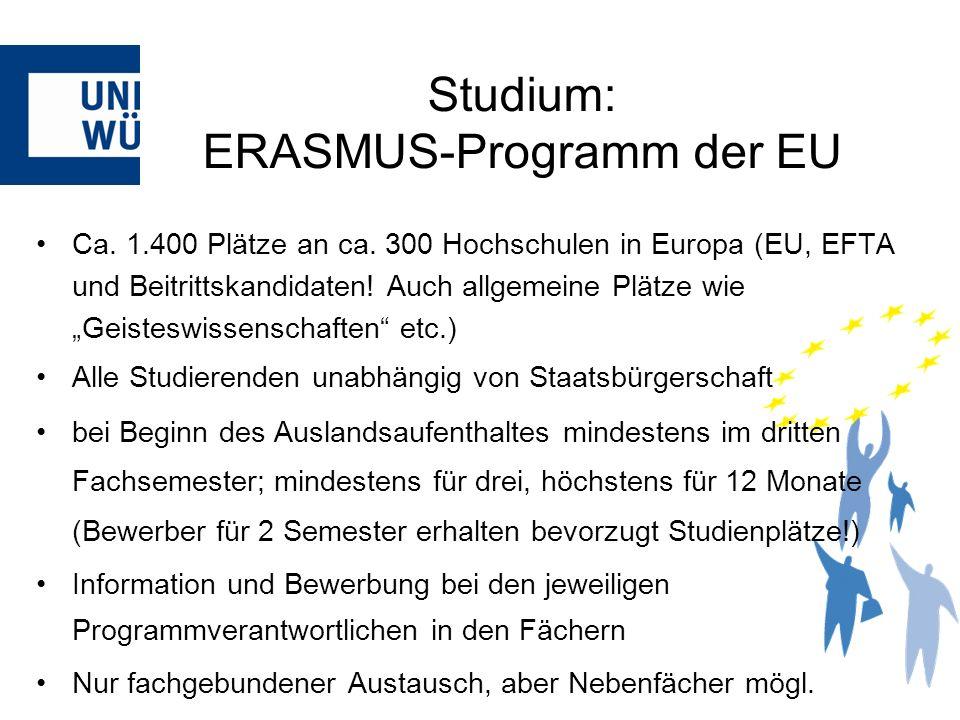 Ca. 1.400 Plätze an ca. 300 Hochschulen in Europa (EU, EFTA und Beitrittskandidaten! Auch allgemeine Plätze wie Geisteswissenschaften etc.) Alle Studi
