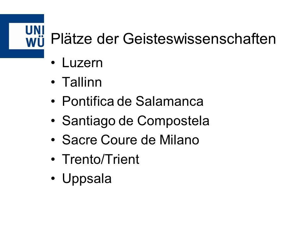 Plätze der Geisteswissenschaften Luzern Tallinn Pontifica de Salamanca Santiago de Compostela Sacre Coure de Milano Trento/Trient Uppsala